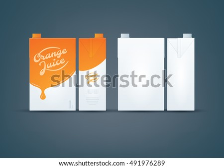 Photo-realistic premium layered vector mock-up set of carton pack orange juice design and white carton ready for to display your design.