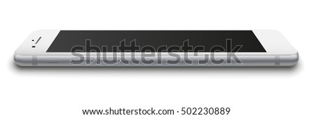 Photo realistic smart phone with black screen isolated on white background. Vector illustration. EPS10.