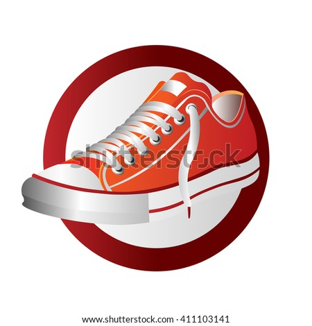 Photo-realistic sports shoe illustration, red sneaker logo isolated on white