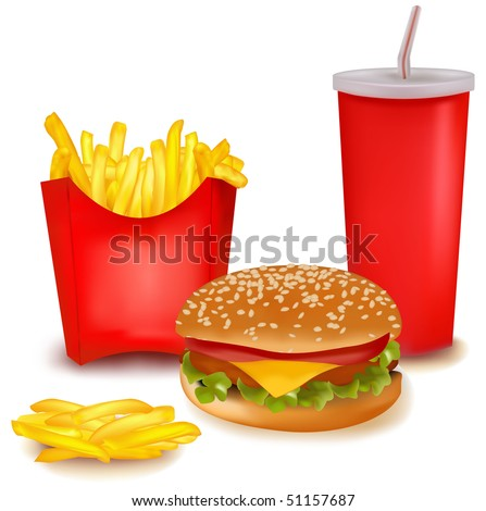 Photo-realistic vector. Big group of fast food products. - stock vector
