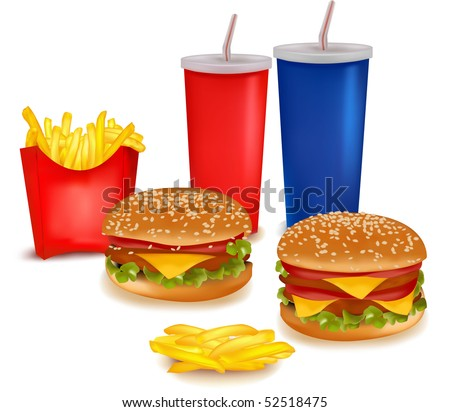 Photo-realistic vector. Big group of fast food products - stock vector