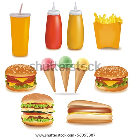 Photo-realistic vector. Big group of food. - stock vector