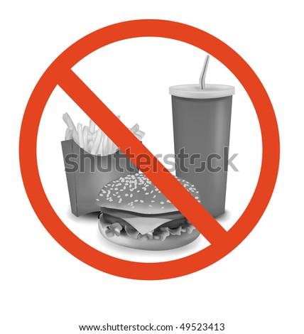 Photo-realistic vector. Fast food danger label. - stock vector