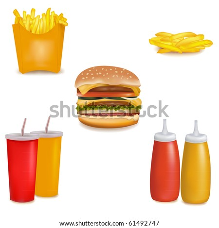 Photo-realistic vector. Group of fastfood products. - stock vector