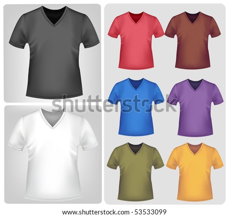 Photo-realistic vector illustration. Colored t-shirts with triangle collars.