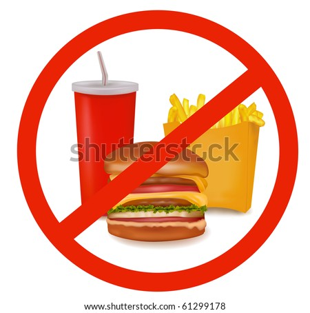 Photo-realistic vector illustration. Fast food danger label (colored). - stock vector
