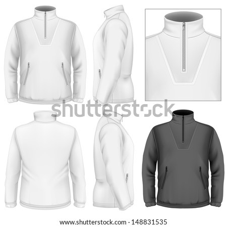 Photo-realistic vector illustration. Men's fleece sweater design template (front view, back and side views). Illustration contains gradient mesh. - stock vector
