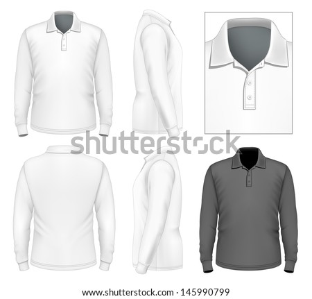 Photo-realistic vector illustration. Men's long sleeve polo-shirt design template (front view, back view, side views). Illustration contains gradient mesh. - stock vector