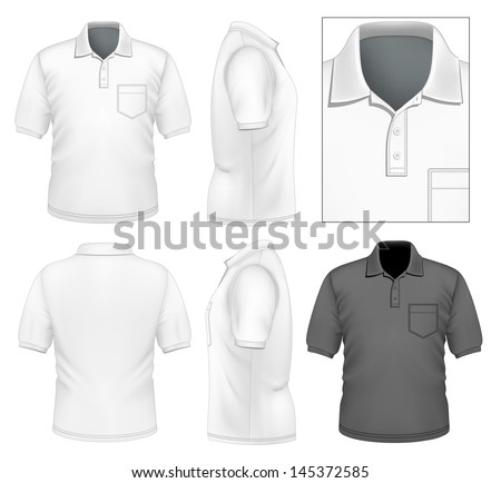 Photo-realistic vector illustration. Men's polo-shirt design template (front view, back view, side views). Illustration contains gradient mesh. - stock vector