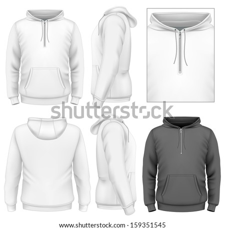 Photo-realistic vector illustration. Men's zip hoodie design template (front view, back and side views). - stock vector