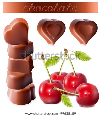 Photo-realistic vector illustration of chocolates. Heart-shaped chocolates with cherries.