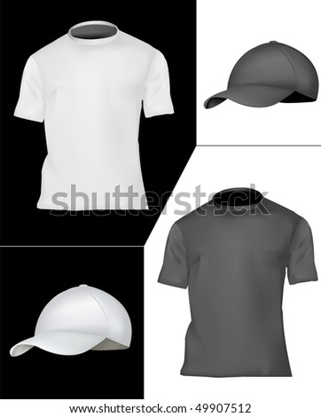 Photo-realistic vector illustration. T-shirt and cap design template (men). Black and white. - stock vector