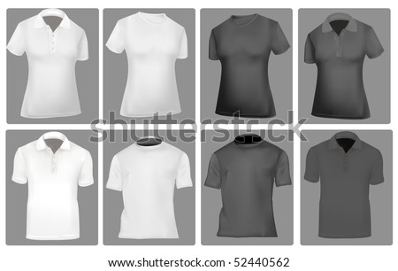 Photo-realistic vector illustration. Two polo shirts and two T-shirts (men and women). Black and white. - stock vector