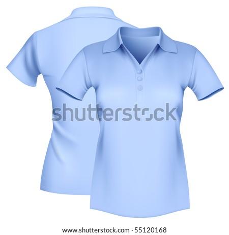 Photo-realistic vector illustration. Women's polo shirt template. - stock vector