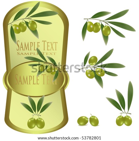 Photo-realistic vector illustration. Yellow label with green olives - stock vector