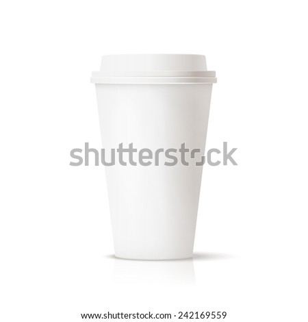 Photo realistic white travel mug, coffee cup. Isolated - stock vector
