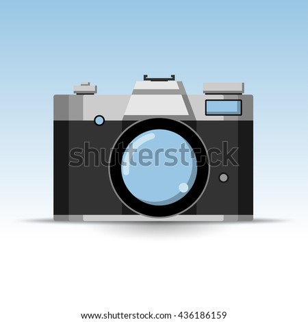 Photo Retro Camera Icon. Illustration Vector. - stock vector