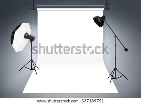 Photo studio background. Equipment for photography, flash and spotlight, vector illustration - stock vector