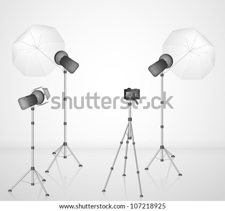 Photo studio with a camera and light. Eps 10 - stock vector