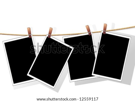 Photo templates hanged on a rope over white background - stock vector