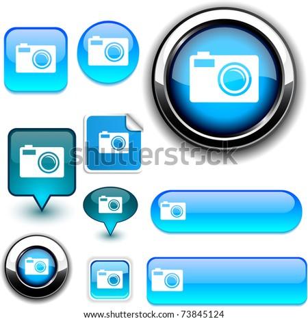 Photo vector glossy icons. - stock vector