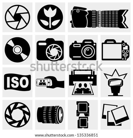 Photo vector  icons set. - stock vector