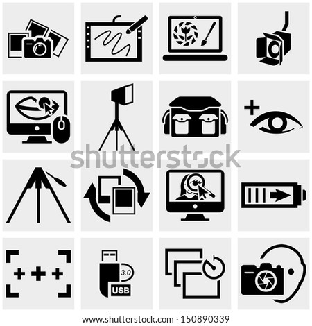 Photo vector icons set on gray - stock vector