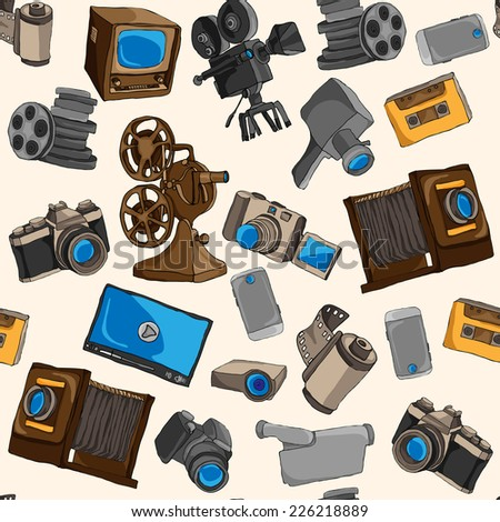 Photo video camera and multimedia entertainment technology colored seamless pattern vector illustration - stock vector