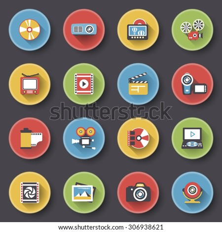 Photo & video modern flat color icons on black background.