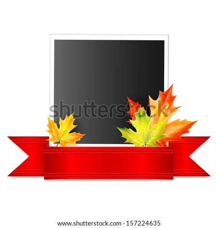 photo with a red ribbon and autumn maple leaves isolated on white background.vector - stock vector