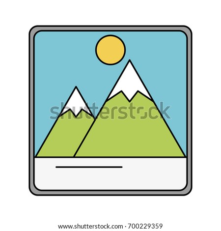 photograph with mountains and sun icon image