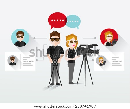 Photographer and Videographer Vector Illustration - stock vector