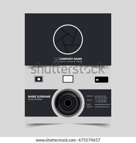 Photographer business card design template stock vector 673174657 photographer business card design template accmission