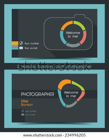 Photographer business card in a flat style. - stock vector