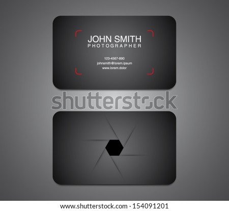 Photographer business card template, photography, photo, presentation. Logo, logotype, brand, branding, identity, company, stationery. Clean and modern style - stock vector