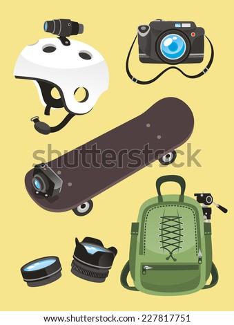 Photographer icon set Helmet camera skate go pro lens backpack, vector illustration cartoon. - stock vector