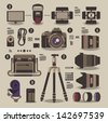 photographer kit,camera elements,vector background - stock vector