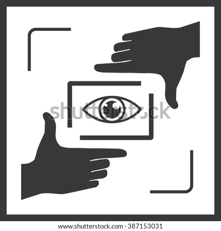 Photographer looking at you through hand frame. Nice frame made from fingers and eye inside. Black variation of vector illustration of perspective view. - stock vector