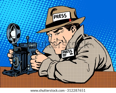 Photographer paparazzi at work press media camera. The reporter looks at pictures. Pop art retro style - stock vector