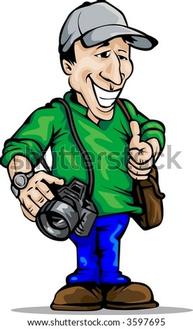 photographer -place for logo on hat/shirt - stock vector