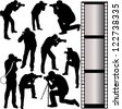 photographer silhouettes - vector - stock photo