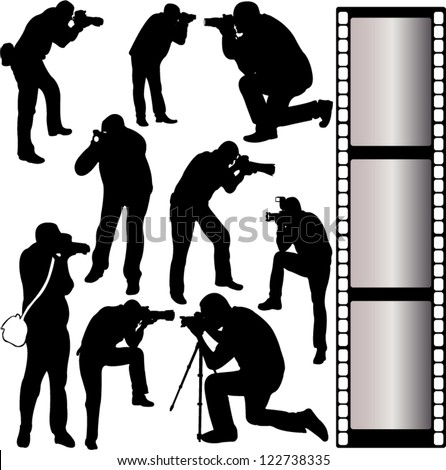 photographer silhouettes - vector - stock vector