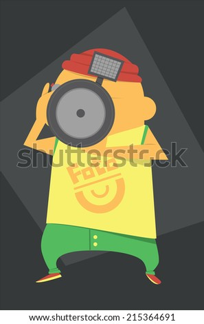 Photographer with a camera takes a shot - stock vector