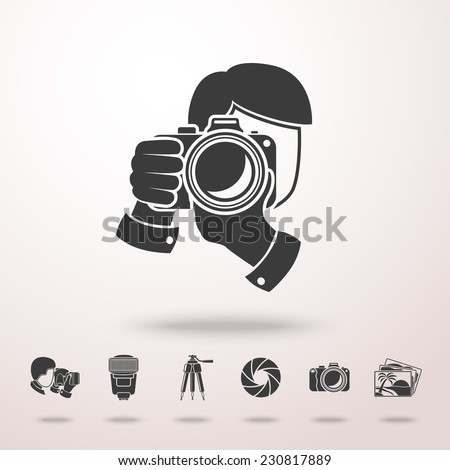 Photographer with camera icon in the air with shadow. With set of photographer stuff icons - shutter, camera, photos, shooting photographers, flash, tripod, spotlight. Vector - stock vector