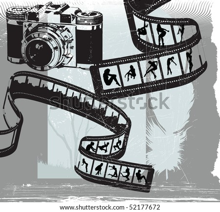 photographers placard with girls silhouettes, grunge illustration - stock vector