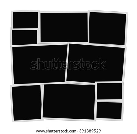 Photographic frames composition set on white. Photo album empty page with frames. vector design template - stock vector