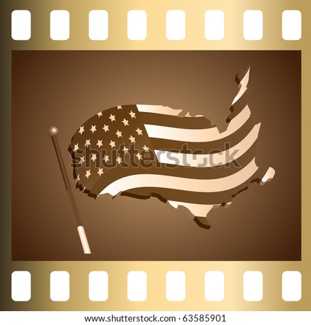 Photographic slide with the image of a flag of the USA made in the form of a map