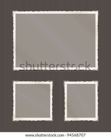Photographs with rough fading edges, transparent corners including landscape, square and portrait formats on a grey album page. - stock vector
