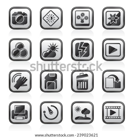 Photography and Camera Function Icons  - vector icon set - stock vector