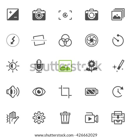 Photography and Camera Function icons with White Background - stock vector